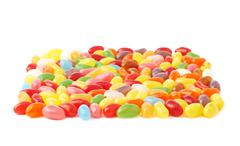 Some jelly bean sweets forming a square shape - stock photo