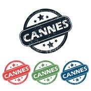 Round Cannes city stamp set Stock Illustration