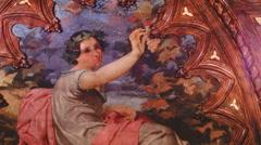 Fresco Paintings in ornate rooms of an Italian renaissance villa Stock Footage