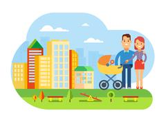 Happy Young Family with Baby on City Landscape - stock illustration