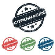 Round Copenhagen city stamp set - stock illustration