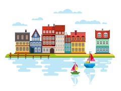 Harbor Waterfront with Boats on River Stock Illustration