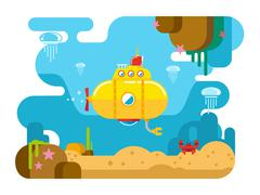 Submarine Under Water Flat Illustration Piirros