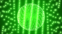 Green background of the particles. creating the shape of a ball Stock Footage