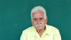 1 Hispanic Elderly People Portrait Sad Senior Man Face Expression Stock Footage