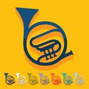 Flat design: french horn Stock Illustration