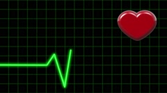 Electrocardiogram and Pulsing Heart on Black background. Healthe Concept Stock Footage