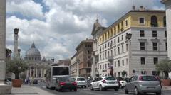 Traffic at Via Della Conciliazione Stock Footage