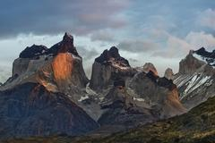 Cuernos del Paine in the morning Lago Pehoe Torres del Paine National Park - stock photo