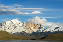 Cuernos del Paine and Amarga Lagoon Torres del Paine National Park Chilean - stock photo