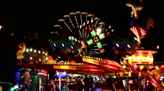 Night sight of a fairground enclosure Stock Footage