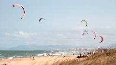 Kitesurf in the beaches of Valencia Stock Footage
