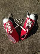 Love heart shape made from sneaker laces - stock photo