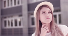 Thinking woman modern hipster looking up to the side pondering Beautiful happy s Stock Footage