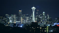 Night in the Seattle, Washington, USA Stock Footage