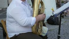 Euphonium Musician Plays Outdoor Stock Footage