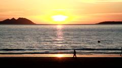 Romantic walk in the beach Stock Footage