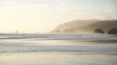 Sunset on the Oregon Coast at Cannon Beach - stock footage