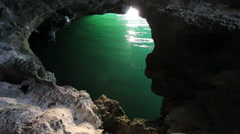 Cave water ocean sea hidden Stock Footage