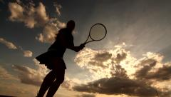 Woman tennis player cut away on the sky Stock Footage