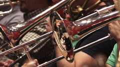 Trombones of a symphonic orchestra - stock footage