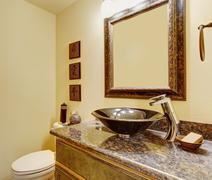 Nice master bathroom with marble sinks and counters. Stock Photos