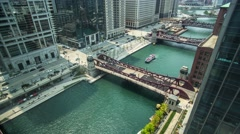Stock Video Footage of Time laps, River in Chicago and boats view in up