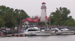 Lighthouse at Port Credit Mississauga Ontario Stock Footage