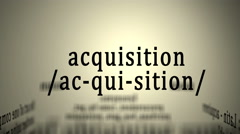 Definition: Acquisition - stock footage