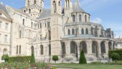 Famous Abbaye aux Hommes William the Conqueror abbey church by the day 4k 384 Stock Footage