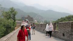 People visiting the Great Wall of China, Beijing Stock Footage