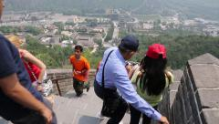 People visiting the Great Wall of China Stock Footage