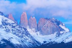 Cuernos des Paine and the Torres in the morning Torres del Paine National Park - stock photo