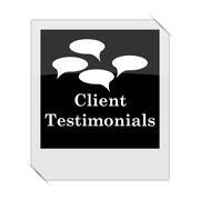 Stock Illustration of Client testimonials icon within a photo on white background.
