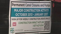New Orleans construction sign - Hurricane Katrina 2005-2015 Stock Footage