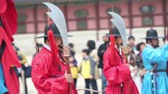 SEOUL, KOREA JULY 2015: Row of armed guards - stock footage