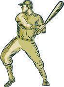Baseball Player Batter Batting Bat Etching Stock Illustration