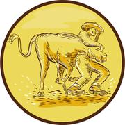 Rodeo Cowboy Steer Wrestling Circle Etching - stock illustration
