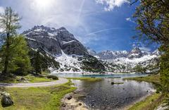 Lake Seebensee Vorderer Tajakopf Schartenkopf and Drachenkopf mountains - stock photo