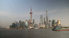 4k Timelapse of Shanghai, China city skyline on the Huangpu River. - stock footage