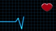 Animation Cardiogram and Pulsing Heart on a Black background Stock Footage