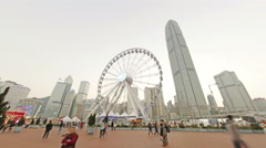 Hong Kong Observation Wheel in Central District of Hong Kong Day to Night Stock Footage