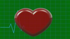 Animation Cardiogram and Pulsing 3D Heart Symbol on Green Screen - stock footage