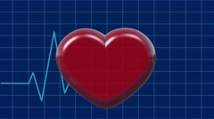 Cardiogram with Pulsing Heart on Blue. Healthe Care Concept Stock Footage