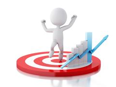 3d white person with business statistic graph in red target. Stock Illustration