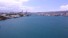 Cruise Boat pulls into Honolulu Harbor Stock Footage