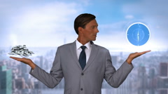 Businessman holding virtual clock and money Stock Footage