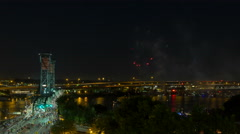 Time Lapse of Fireworks on Willamette River with Hawthorne Bridge in Portland OR Stock Footage