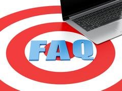 3d Laptop pc and FAQ on target. Stock Illustration