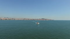 Aerial from ferry boats on the river Tejo near Lisbon Portugal Stock Footage